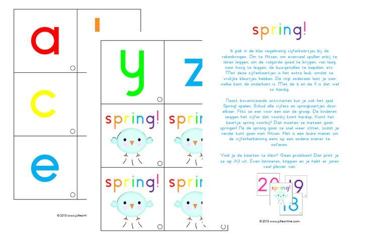 Spring! Spelletjes met cijfer- en letterkaarten