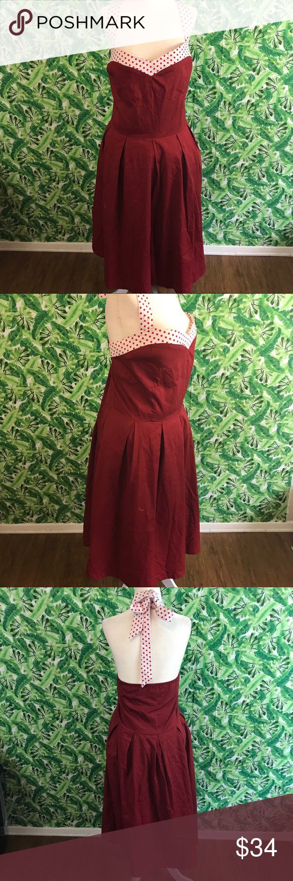 Women's plus size pinup Lindy bop red dress 22 Item- women's retro pinup Lindy bop dress plus size  Size- 6x/ 22  Measurements- 25 across bust 23 waist 40 length   Fabric content- cotton elastane   Condition- previously owned no holes tears or stains   All items come from a smoke free dog friendly home. I ship 3-4 times a week. No trades please! I am open to reasonable offers! lindy bop Dresses