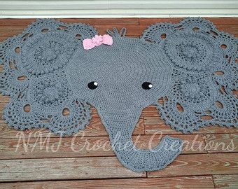 Crochet Elephant Rug by NMJCrochetCreations on Etsy