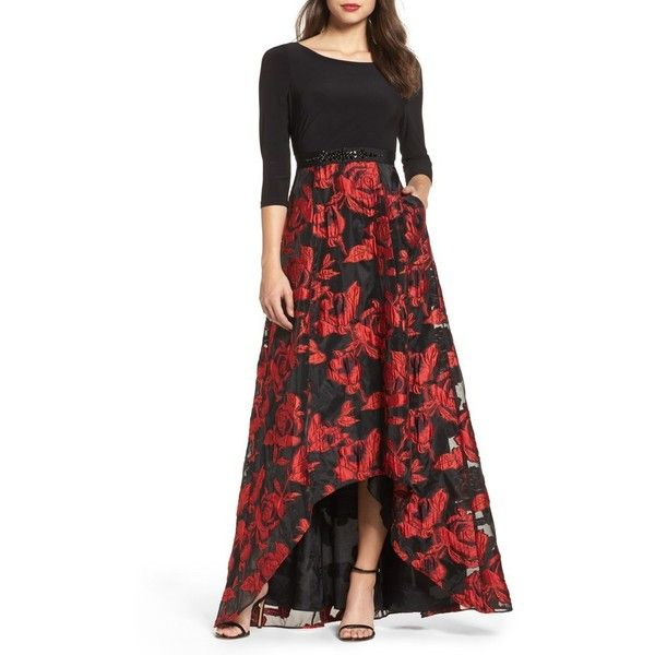 Women's Adrianna Papell Rose Organza High/low Maxi Dress ($269) ❤ liked on Polyvore featuring dresses, rose jersey, sparkly maxi dress, adrianna papell, red sparkly dress and rose maxi dress