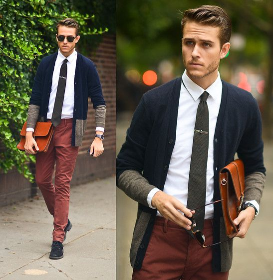 Adam Gallagher - All Saints Cardigan, Tie Bar, Similar Here  > Tie, Similar Here  > Satchel, Clubmasters, All Saints Trousers - Two Toned