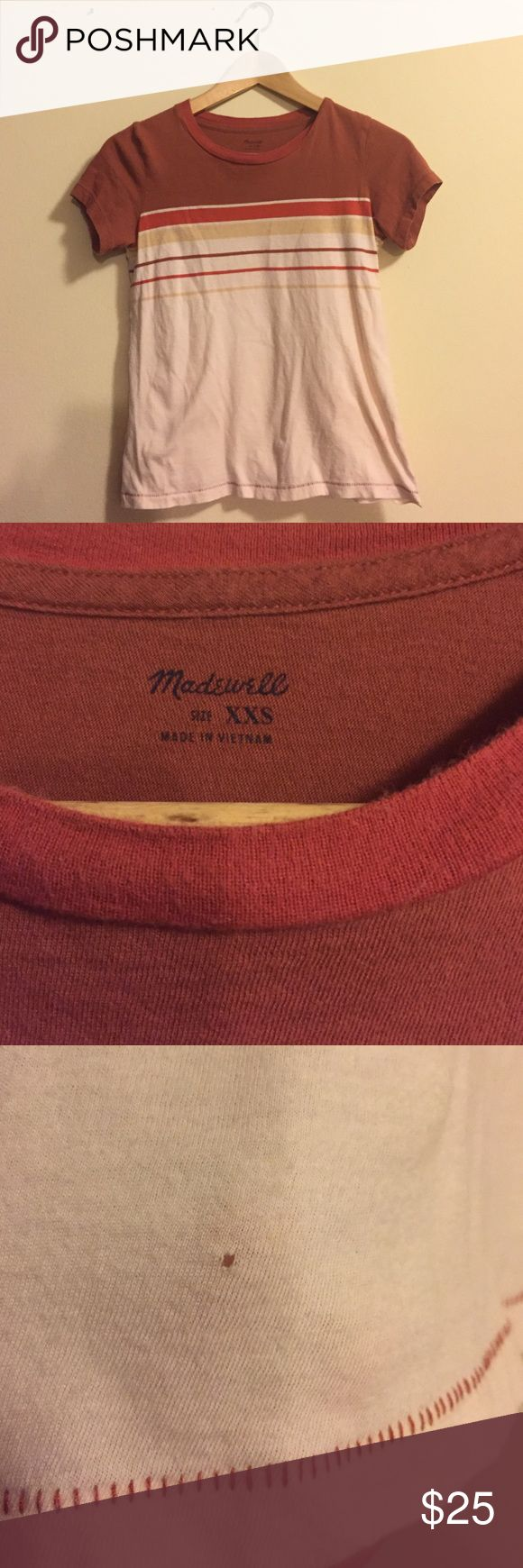 Madewell Striped Radio Tee Good condition. Tiny hole at front hem pictured. Super cute! Madewell Tops Tees - Short Sleeve