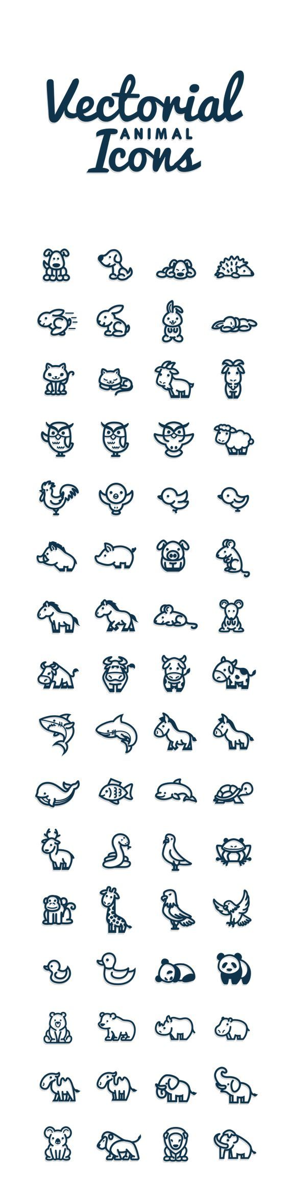 Vectorial Animals by Bodea Daniel, via Behance // Petits animaux divers : chien, hérisson, lapin, chat, chèvre, hibou, mouton, coq, oiseau, sanglier, cochon, cheval, souris, vache, requin, âne, baleine, poisson, dauphin, tortue, renne, serpent, pigeon, mouette, grenouille, singe, girafe, aigle, canard, panda, ours, rhinocéros, hippopotame, chameau, éléphant, koala, lion, mammouth: