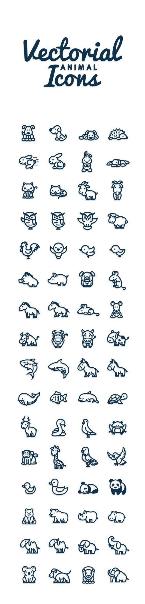 Vectorial Animals by Bodea Daniel, via Behance // Petits animaux divers : chien, hérisson, lapin, chat, chèvre, hibou, mouton, coq, oiseau, sanglier, cochon, cheval, souris, vache, requin, âne, baleine, poisson, dauphin, tortue, renne, serpent, pigeon, mouette, grenouille, singe, girafe, aigle, canard, panda, ours, rhinocéros, hippopotame, chameau, éléphant, koala, lion, mammouth: