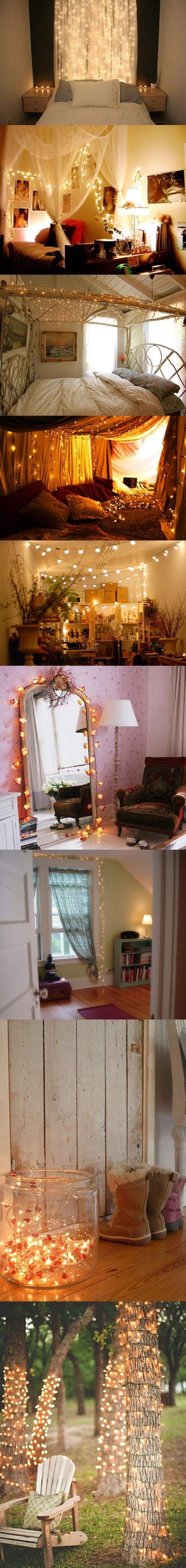 """Love the white lights! Could do a """"canopy"""" type thing around your bed with the white panels and white lights like the second picture down from the top. Very cozy!!"""