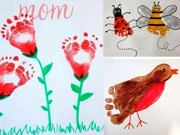 Bloemen, vogel, lieveheersbeestje en bij, allemaal van voetafdrukken.
