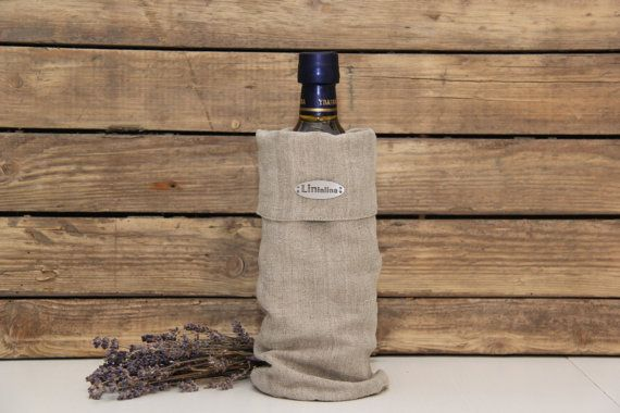 Linen bottle bag. by lininline on Etsy