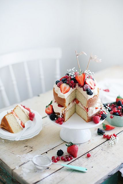 vanilla cake with berries, 4th of July perfection, or any summer day for that matter