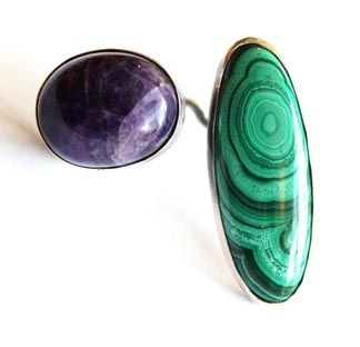 "Art Smith  American  Ring, c 1960  Sterling silver, malachite and amethyst  Stamped ""Art Smith""  2"" x 1 1/4"""