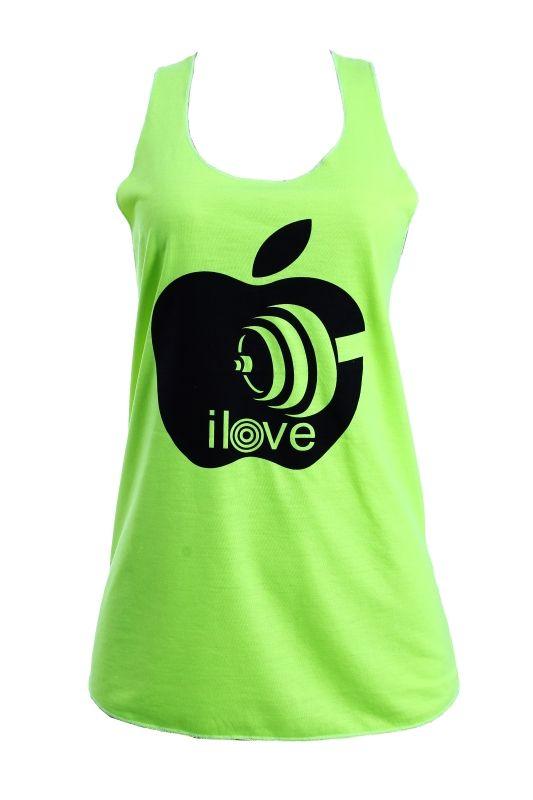 Camiseta fitness, toda overlocada, decote nadador, cor verde neon, com  estampa em