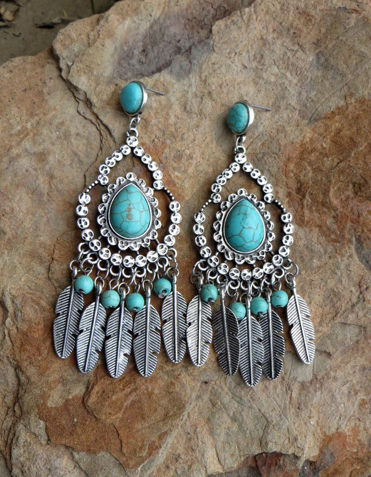 Cowgirl bling BIG FEATHER EARRINGS SPANISH Turquoise Silvertone Boho Gypsy #Unbranded #PIERCED