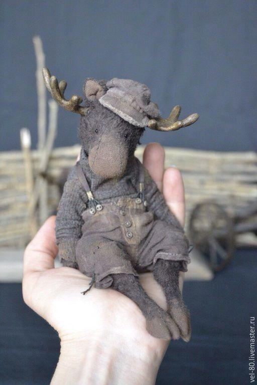 Купить Деревенские истории - коричневый, лось, лось игрушка, ретро стиль, ретро, деревенский стиль