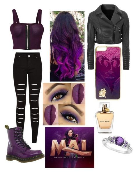 """""""Mal from descendants"""" by geelyluv ❤ liked on Polyvore featuring WearAll, Dr. Martens, Glamorous, Allurez and Disney"""
