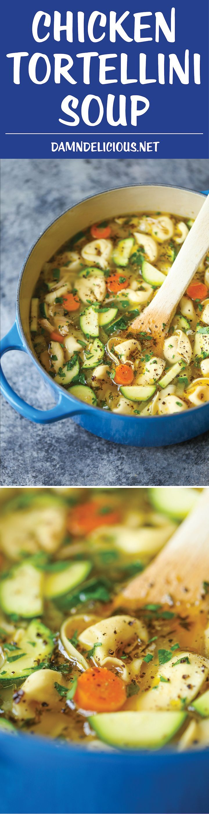 Chicken Tortellini Soup - Everyone's favorite chicken noodle soup gets an upgrade using cheesy tortellini! So comforting and easy to make for any night!