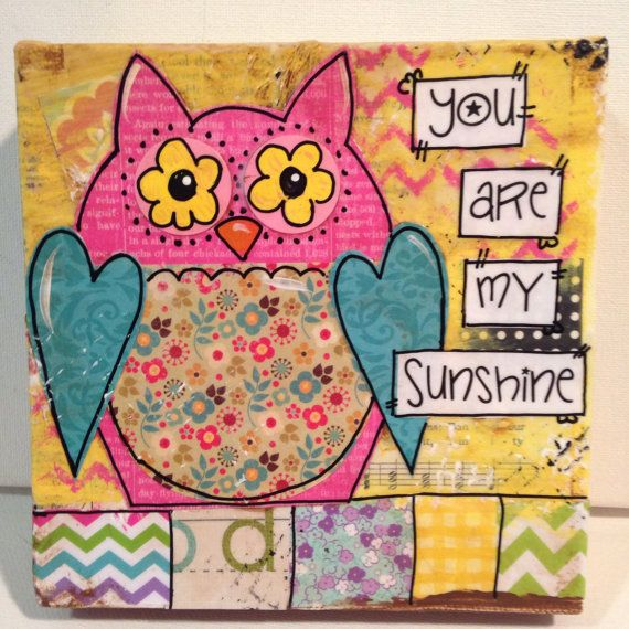 Owl Canvas Painting You are my Sunshine by heartfeltByRobin