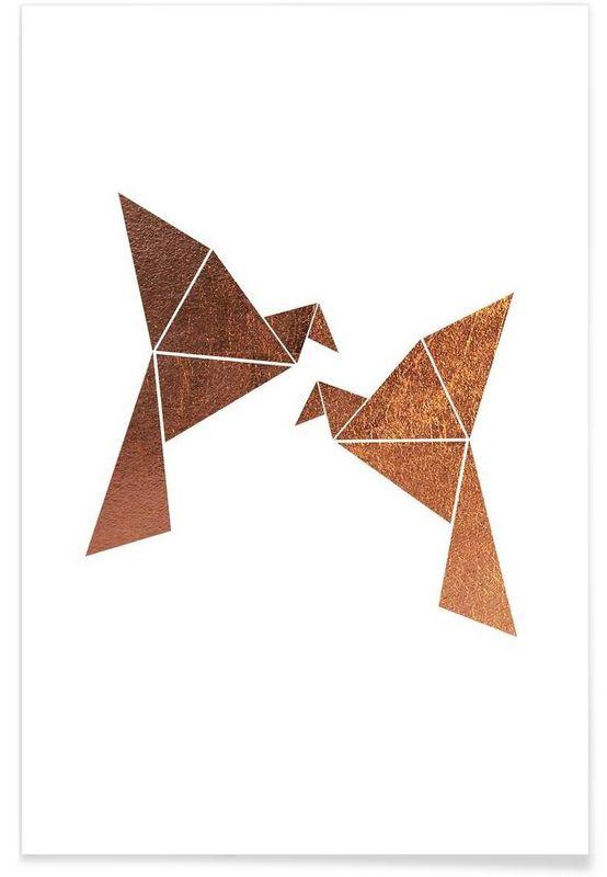 Vogel Kupfer als Premium Poster von XOXO Arte   JUNIQE