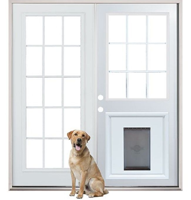french door with doggie door