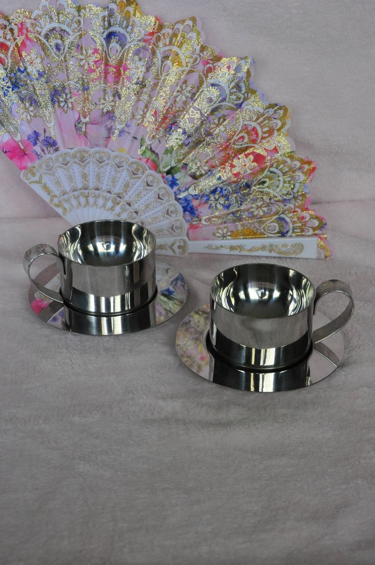 Set of 2 Italian Stainless Steel coffee mugs and saucers by maudeandmary on Etsy