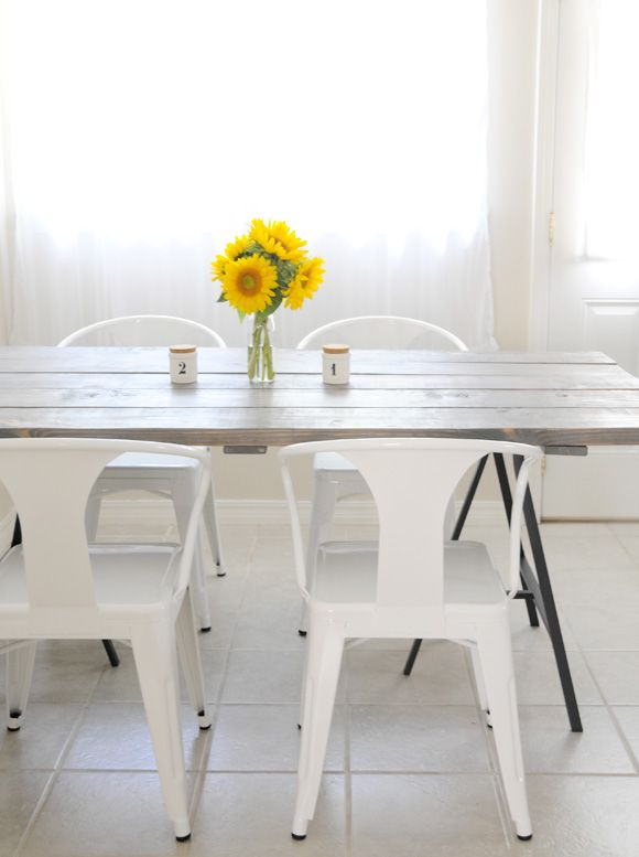 A Story About A DIY Table and Four AwesomeChairs - Home - Creature Comforts - daily inspiration, style, diy projects + freebiesTables Suitable, Tables Legs, Tables Design, Kitchen Tables, Tables Diy, Diy Tables, Home Kitchens, Dining Tables, Industrial Tables