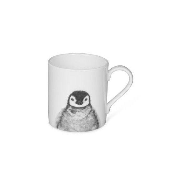 Penguin Bone China Mug by Lucy Coggle (£15) ❤ liked on Polyvore featuring home, kitchen & dining, drinkware, white mug, handcrafted mugs, white bone china, white bone china mugs and handmade mugs