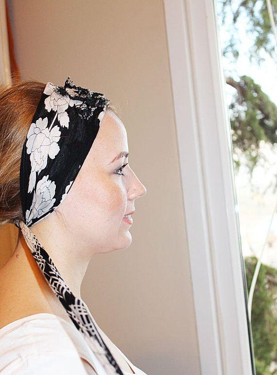 Black and White Turkish Oya Scarf  Headband by aynurdereli on Etsy