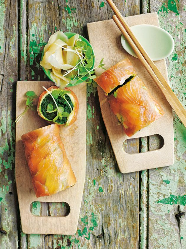 Smoked Salmon Avocado And Spinach Rolls | Donna Hay