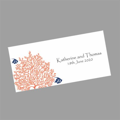 Coral wedding invitations with two blue fish who are very much in love! www.kardella.com