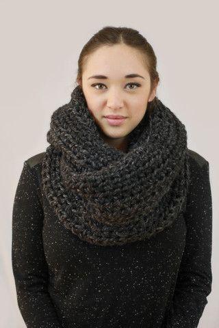 Grey/Black Crochet Infinity Scarf.Wool Acrylic. Handmade. Miyuki crochet Montreal