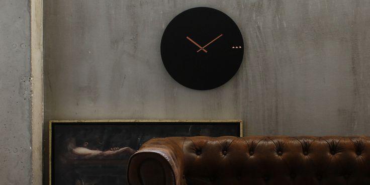 Industrial wall clock ''Tre black copper''