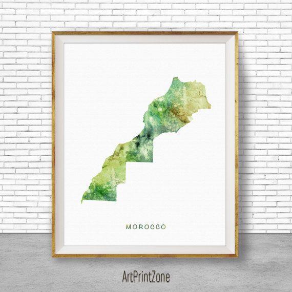 Morocco Art, Watercolor Map, Morocco Map Art Office Wall Decor, Office Wall Art, Living Room Art, Map Decor, Map Wall Art Print Zone #WatercolorMap #ArtPrintZone #MapDecor #LivingRoomArt #OfficeWallArt