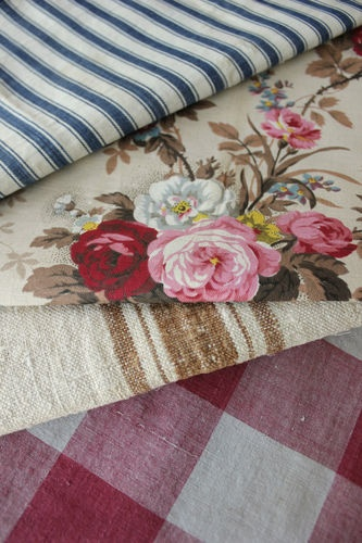 Antique Vintage French Fabrics Materials Project Bundle Floral Ticking | eBay  Love the combination of buffalo check and blue ticking.  Thinking maybe for slipper chair of rocker/ glider...