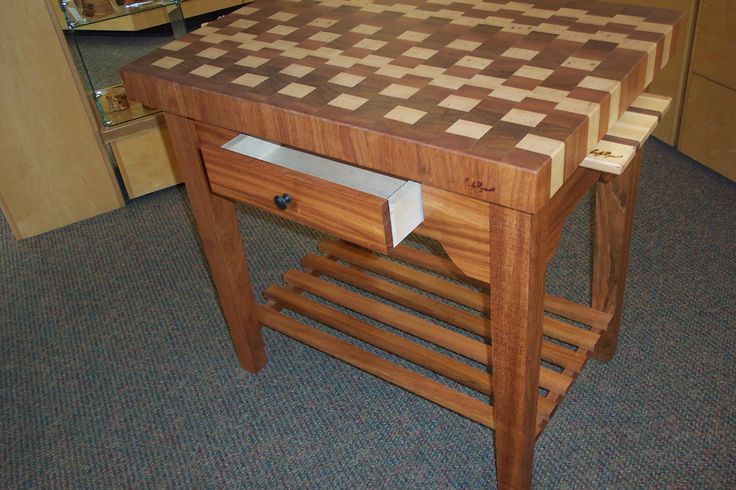 """Santos Mahogany and Maple island.  Two cutting boards stored underneath the 3 1/2"""" end-grain top and a front drawer"""