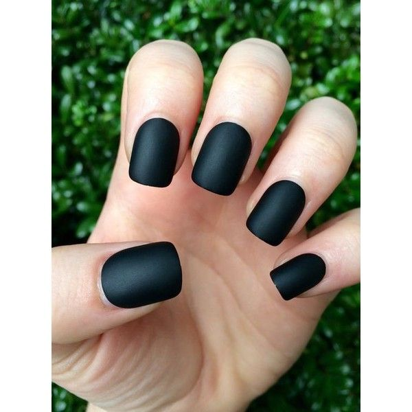 Black matte nails, matte nails, black matte, fake nails ❤ liked on Polyvore featuring beauty products and nail care