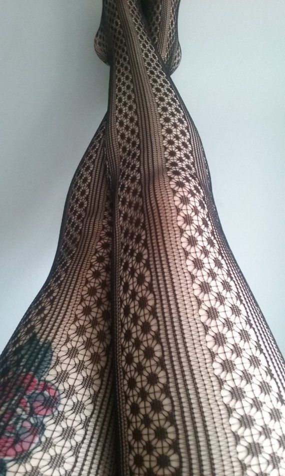 Black Tights fishnet flower modern bride stockings lace pantyhose suededead