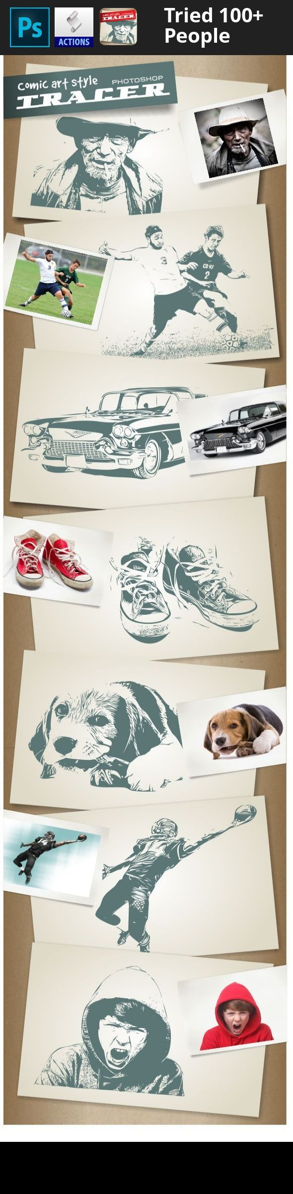action, comic art, image, photoshop, raster, trace, tracer, tracing, vector, vectorize Easily convert images to clean vector art. Although this process is very simple; Load vectorizer action, open your image and click the action play button that's it!.. Convert raster images like JPEGs, GIFs and PNGs to AI vector graphics.