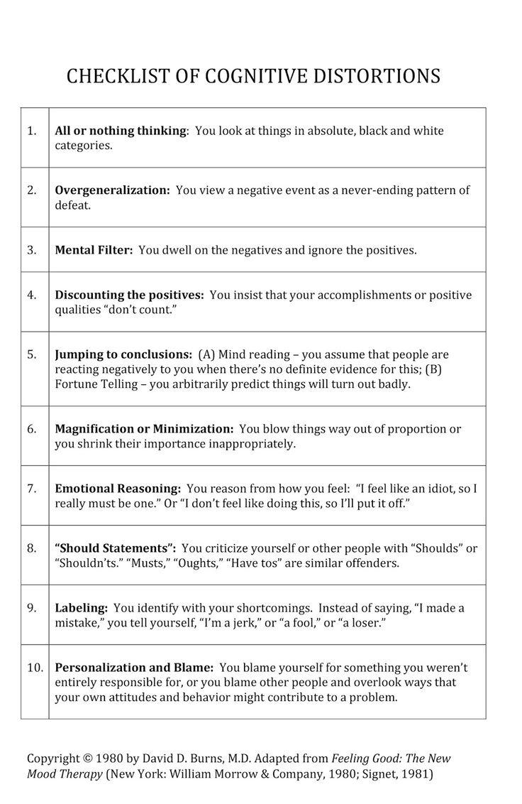 25+ best ideas about Cognitive distortions on Pinterest | Cbt ...