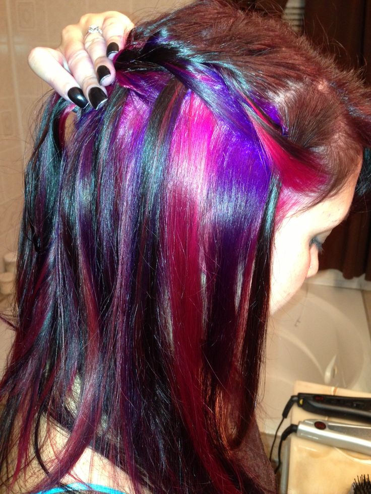 Bright hair. Pravana. Peekaboo pink and purple.