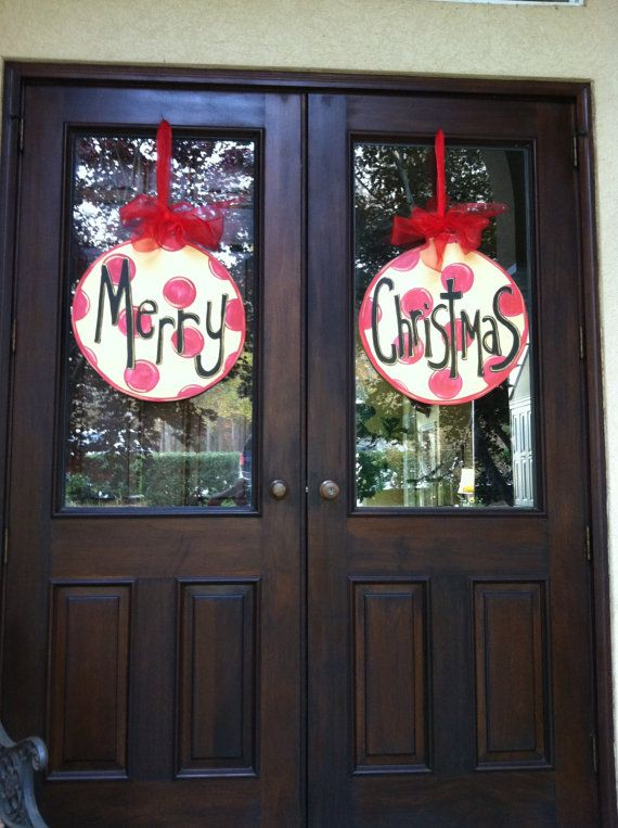 Double Door hangers with Merry Christmas,finished plywood and polyurethane