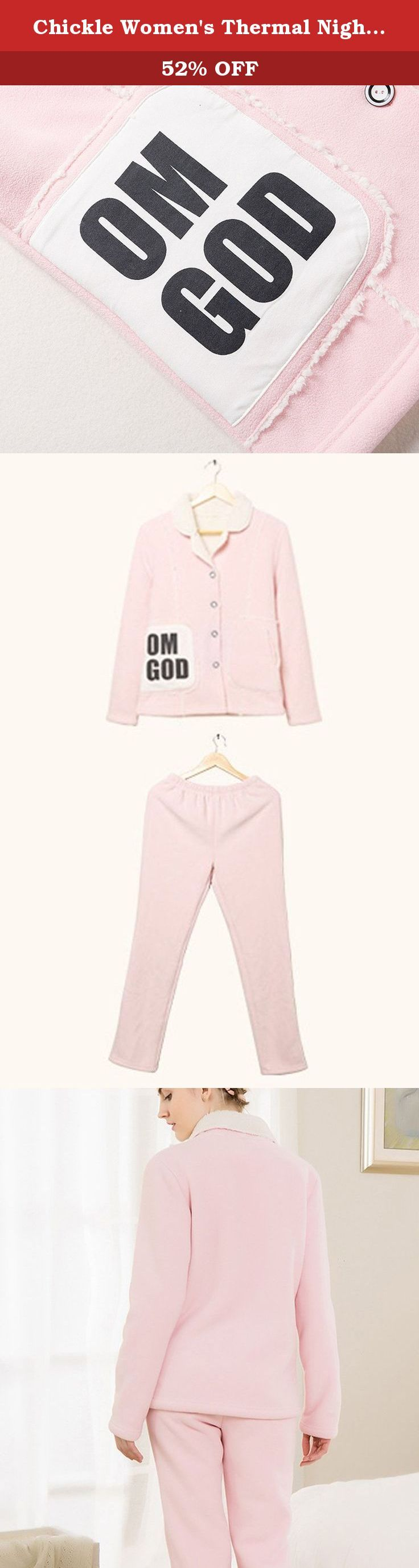 Chickle Women's Thermal Nightgown Winter Fleece Pajama Set Loungewear Pink. Winter fleece pajama set featuring notched collar,big sidekick with wording pattern, button-end clouse, elastic waist band,sweety style sleepwear for girls and young ladies.