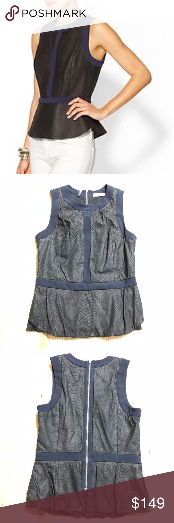 """Rebecca Taylor Leather Snakeskin Peplum Top Rebecca Taylor Pleated Leather Peplum Top. Black leather with snakeskin print all over. Navy blue contract. Exposed silver zipper down length of back. Sleeveless. Approx 16"""" across bust, 14"""" across waist, 22"""" long. 100% leather. Navy blue is 92% polyester, 8% spandex. Fully lined. First pic is stock. No signs of wear. EUC.  No trades. If I want something in your closet badly enough, I'll buy it 😍 Reasonable offers always welcome! Rebecca Taylor…"""