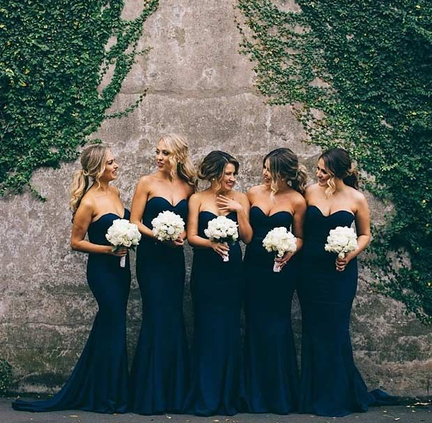 Strapless, Navy Blue Dresses for Bridesmaids + White Bouquets