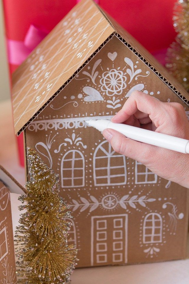 Gingerbread house gift box tutorial. Gloucestershire Resource Centre http://www.grcltd.org/home-resource-centre/