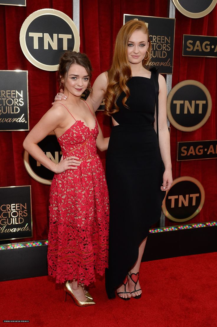#SophieTurner and #MaisieWilliams attend the 21st Annual Screen Actors Guild Awards at The Shrine Auditorium on January 25, 2015 in Los Angeles, California.