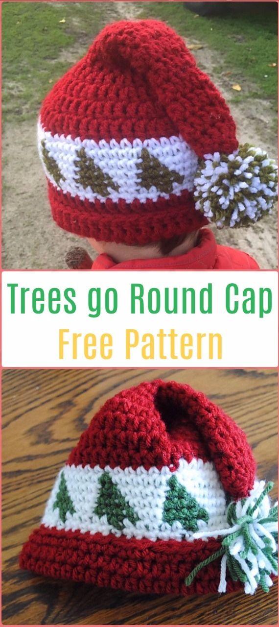 Crochet Trees go RoundCap Hat Free Pattern - Crochet Christmas Hat Gifts Free Patterns