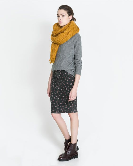 fall: SKIRT WITH SMALL FLORAL PRINT from Zara