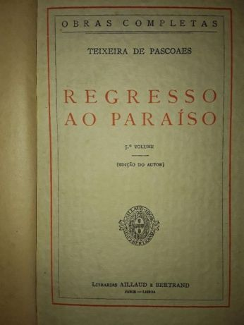 Regresso ao Paraíso por Teixeira de Pascoais raro 1900 1ªedição Campo De Ourique - imagem 1