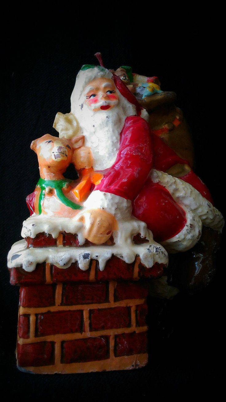 Vintage Santa Claus Merry Christmas candle oddity oddities  Vecchia grande candela Babbo Natale di studyartantique su Etsy