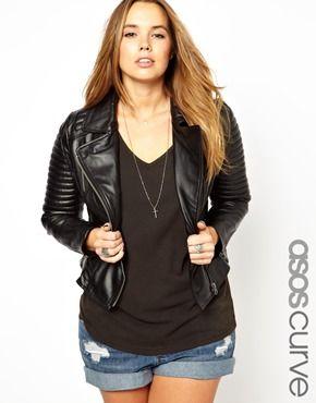 Image 1 ofASOS CURVE Exclusive Leather Biker Jacket