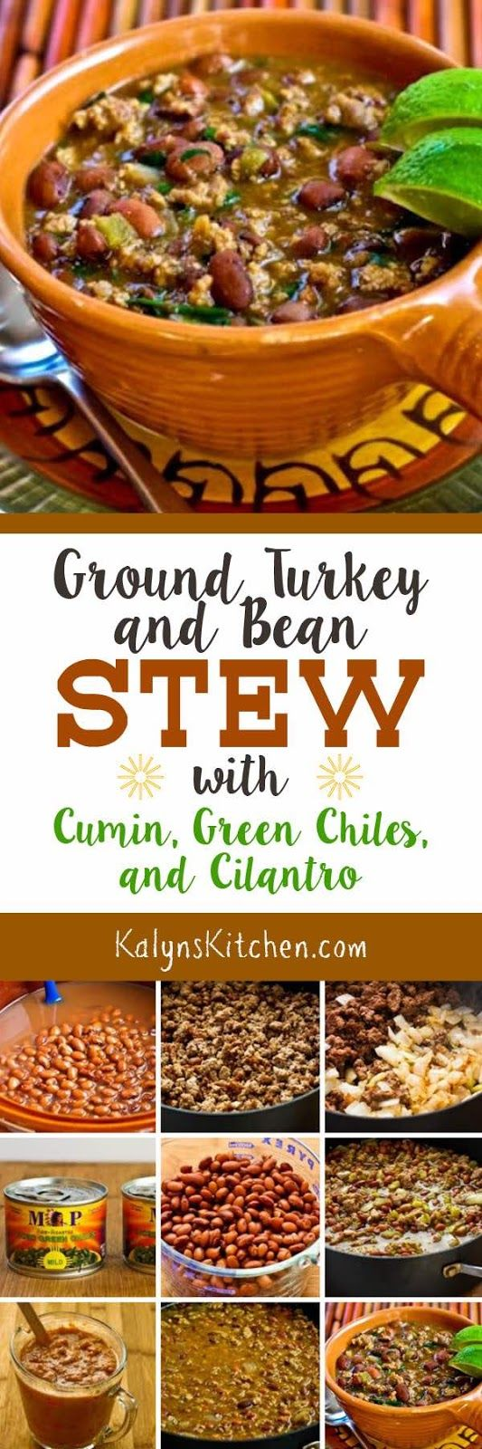 Ground Turkey and Bean Stew with Cumin, Green Chiles, and Cilantro is thickened with refried beans and loaded with Southwestern flavors, and this tasty bean stew is low-glycemic, gluten-free, dairy-free, and South Beach Diet friendly. [found on KalynsKitchen.com]