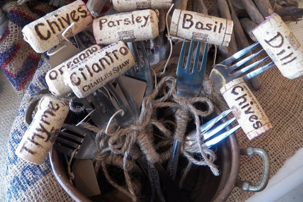 Wine cork and fork plant labels - even better!!